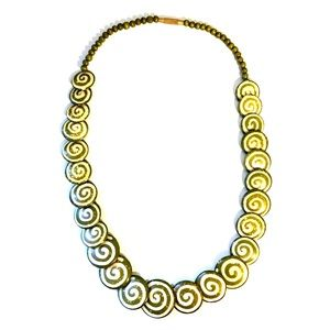 Funky tribal green spiraled circles necklace